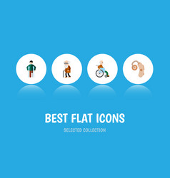 Flat icon handicapped set of ancestor injured vector