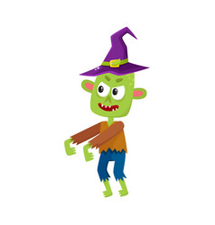 Scary little green zombie monster in pointed witch vector