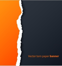 Orange torn paper with drop shadows on dark vector image