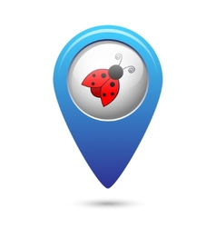 Map pointer with ladybug icon vector