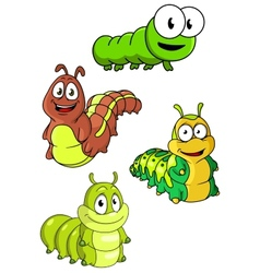 Cute colorful cartoon caterpillars characters vector image