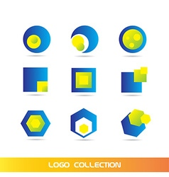 Blue yellow logo elements icon set collection vector