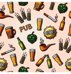 Seamless pub - beer handdrawn pattern vector