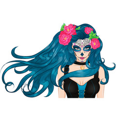 Mexican sugar skull makeup long hair girl vector