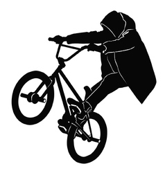 Teenager riding a bmx bicycle vector