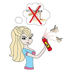 Girl kill mosquito vector