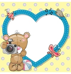 Bear with heart frame vector