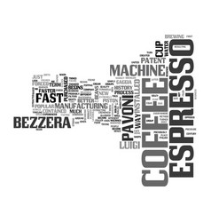 A brief history of espresso text word cloud vector