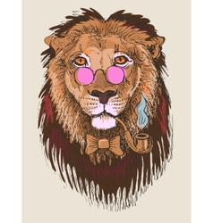 artwork of hipster lion smoking tube in pink vector image