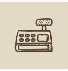 Cash register machine sketch icon vector