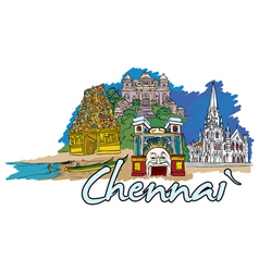 chennai doodles vector image vector image