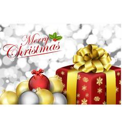 christmas gift box and balls vector image vector image