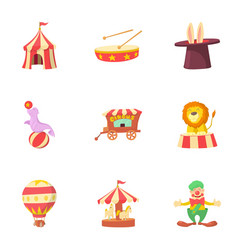 Circus chapiteau icons set cartoon style vector