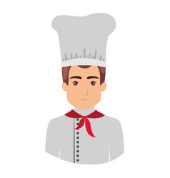 Colorful portrait half body of male chef vector