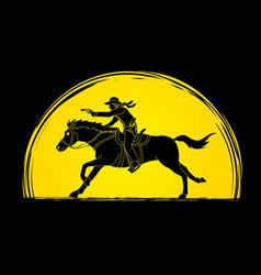 cowboy riding horseaiming gun on sunlight vector image vector image