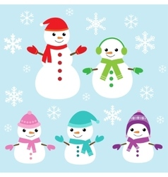 cute and funny snowmen vector image vector image