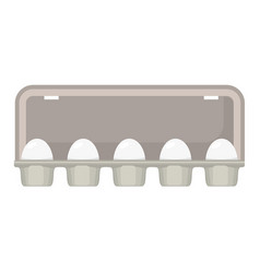 Egg box with white fresh chicken eggs vector