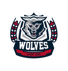 emblem logo sticker aggressive wolf ready to vector image vector image
