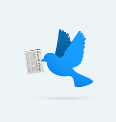 Flat blue bird with newspaper social media vector