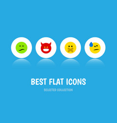 Flat icon emoji set of pouting tears frown and vector