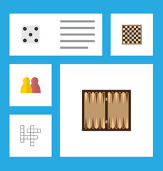 flat icon play set of chess table dice people vector image