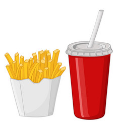 french fries and a drink in a red disposable cup vector image vector image