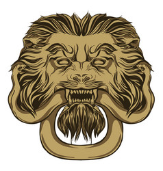 Gold lion holding a snake door knocker hand vector