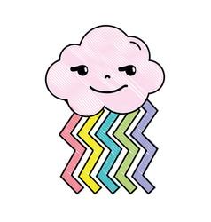 Grated rogue cloud kawaii with rainbow design vector