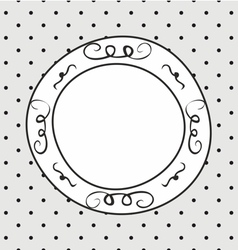 Hand drawn frame on polka dots grey background vector image