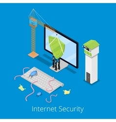 Isometric internet security and data protection vector