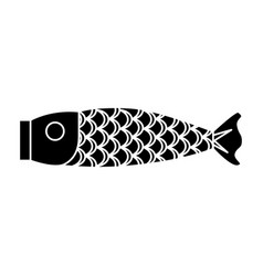 Japanese fish wooden icon vector