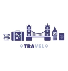 London Travel Symbols Set By Five In Line vector image