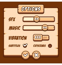 Option menu wooden style game buttons vector