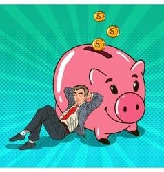 Pop Art Businessman Sleeping near Piggy vector image vector image