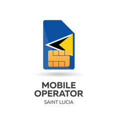 Saint lucia mobile operator sim card with flag vector