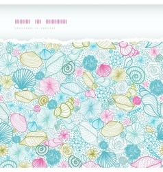 Seashells line art horizontal torn seamless vector image vector image