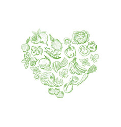 sketched fresh vegetables and fruits set in vector image