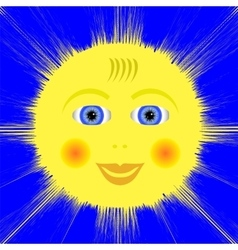 Smiling yellow sun icon vector