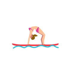 sportive girl doing yoga on stand-up paddle board vector image