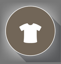 t-shirt sign white icon on brown circle vector image vector image