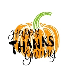 Thanksgiving day pumkin and lettering vector