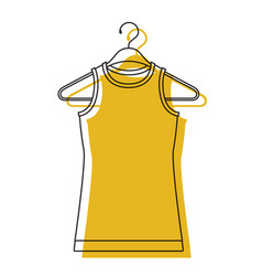 Yellow watercolor silhouette of t-shirt without vector