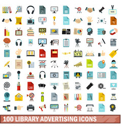 100 library advertising icons set flat style vector image vector image