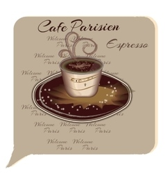 Cup of coffee espresso cartoon style vector