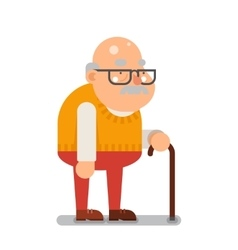 Grandfather old man character cartoon flat design vector
