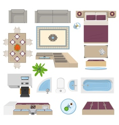 Interior Elements Top View Position vector image