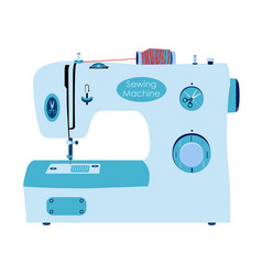 Sewing machine in flat style needlework sewing set vector