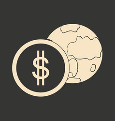 flat in black white earth and coin vector image