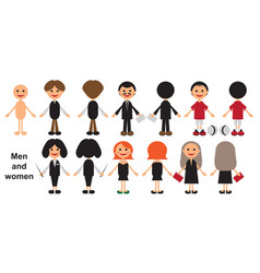 Men and women front and back vector