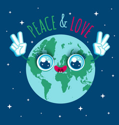 planet earth in kawaii style vector image